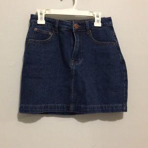 High waisted jean mini skirt
